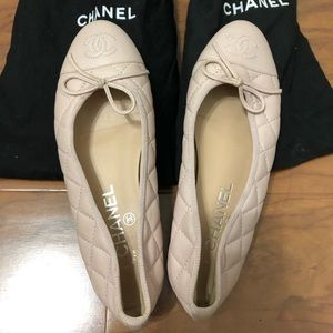 CHANEL Ballerina flats quilted leather baby pink